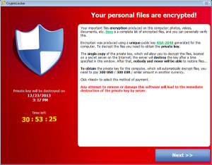 CryptoLocker Encryption Virus Pop-Up